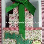 Caixa com 6 mini pães de mel e acabamento com aplique em papel e fitas, R$22,00